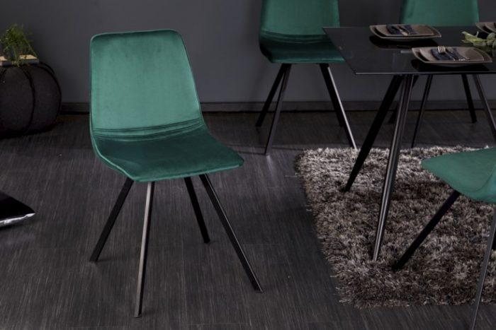 Krzesło retro AMSTERDAM CHAIR szmaragdowa zieleń aksamit