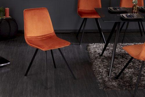 Krzesło retro AMSTERDAM CHAIR  pomarańcz aksamit