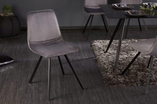 Krzesło retro AMSTERDAM CHAIR ciemnoszare aksamit