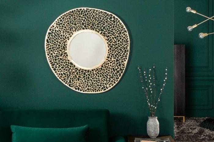 Eleganckie lustro ścienne LEAF S 76 cm złote wzór liścia