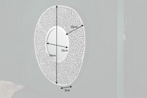 Eleganckie lustro ścienne LEAF S 76 cm srebrne wzór liścia
