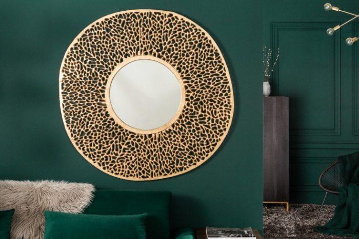 Eleganckie lustro ścienne LEAF L 112cm złote wzór liścia