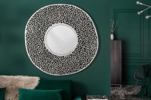 Eleganckie lustro ścienne LEAF L 112 cm srebrne wzór liścia