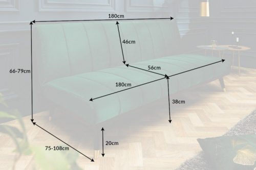 Elegancka 3-osobowa sofa PETIT BEAUTÉ 180 cm szmaragdowo-zielona aksamit