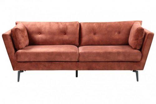 Elegancka sofa 3-osobowa MARVELOUS 220 cm rdzawobrązowa antyczna