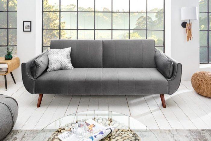 Sofa DIVANI 215cm srebrnoszara rozkładana aksamit Retro
