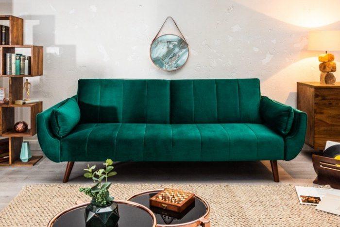 Sofa DIVANI 215cm zielona rozkładana aksamit Retro