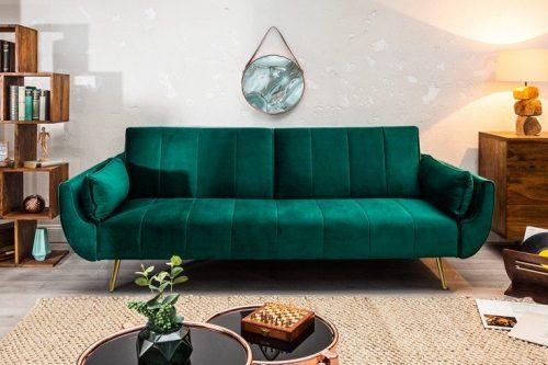 Sofa DIVANI 215cm zielona rozkładana aksamit Retro 3 osobowa