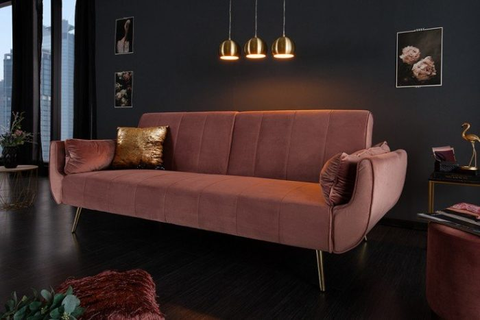 Sofa DIVANI 215cm ciemnyróż rozkładana aksamit Retro