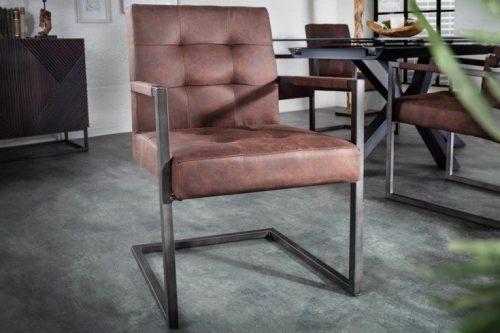 Wspornikowe krzesło RIDER brązowe