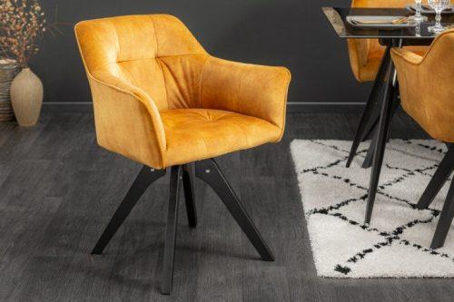 Obrotowe krzesło LOFT musztardowe / żółte styl retro