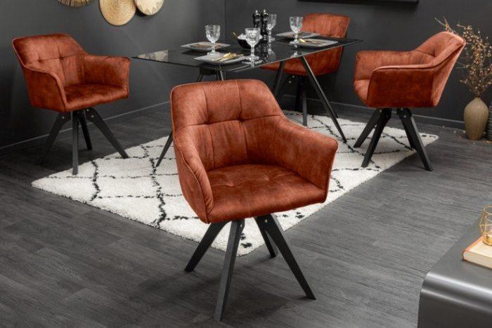 Obrotowe krzesło LOFT miedziane styl retro