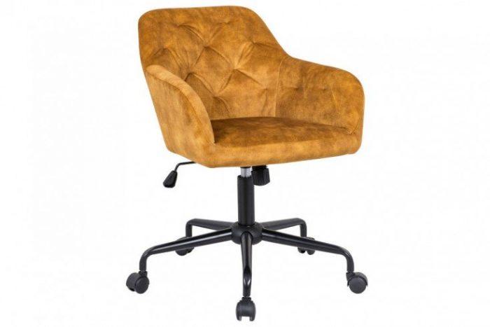 Krzesło biurowe z regulacją DUTCH eleganckie pikowania musztardowe