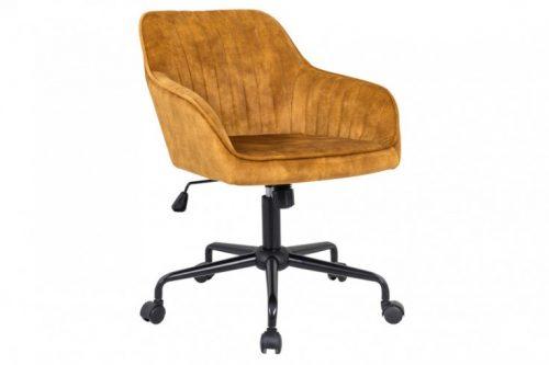 Obrotowe krzesło biurowe TURIN vintage regulacja wysokości musztardowe