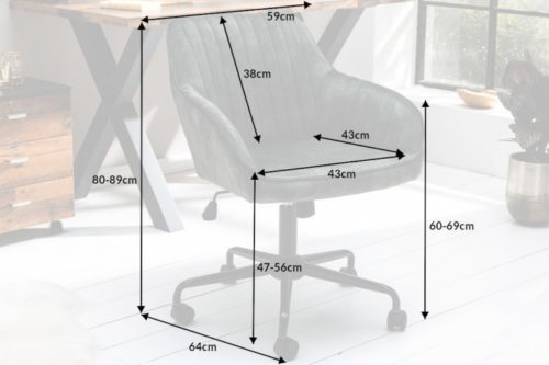 Obrotowe krzesło biurowe TURIN vintage regulacja wysokości ciemnozielone