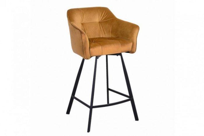 Retro krzesło barowe LOFT 100 cm musztardowy żółty
