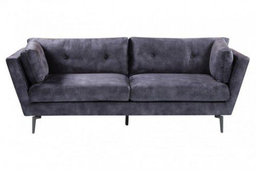 Elegancka sofa 3-osobowa MARVELOUS 220 cm aksamit szara