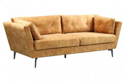 Elegancka sofa 3-osobowa MARVELOUS 220 cm aksamit musztardowy żółty