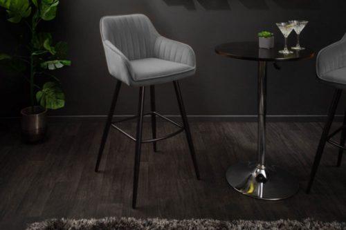 Elegancki stołek barowy / hoker TURIN szary aksamit