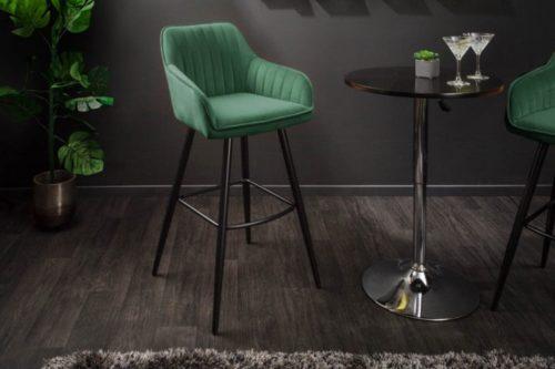 Elegancki stołek barowy / hoker TURIN zielony aksamit