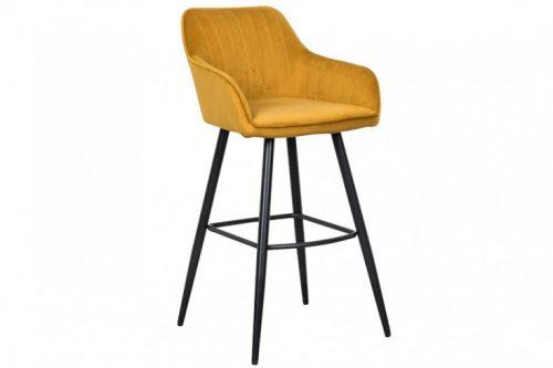 Elegancki stołek barowy / hoker TURIN żółty aksamit