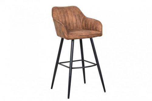 Elegancki stołek barowy / hoker TURIN mikrofibra brązowy