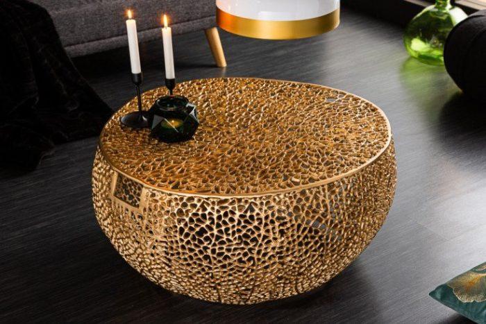 Stolik kawowy LEAF 80 cm złoty