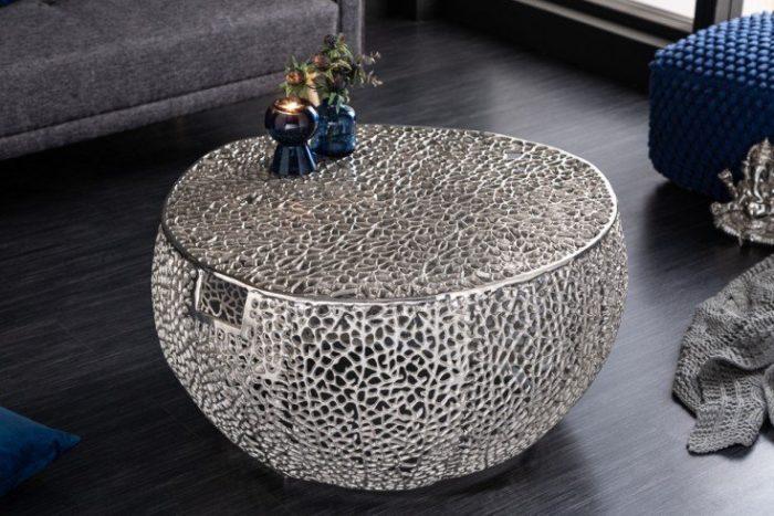 Stolik kawowy LEAF 80 cm srebrny