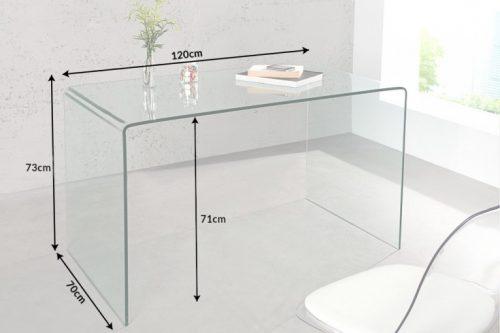 Ekstrawaganckie szklane biurko FANTOME 120 cm przezroczyste