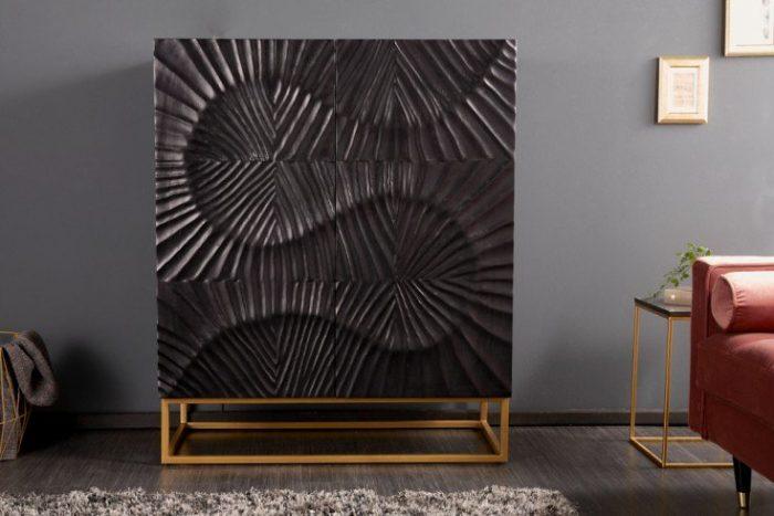 Komoda SCORPION 100 cm czarne drewno mango