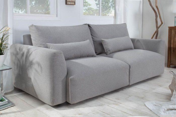 Nowoczesna sofa 3-osobowa HAMPTON 240cm jasnoszara 3-osobowa wraz z poduszkami