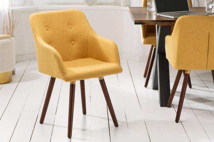 Krzesło SCANDINAVIA MEISTERSTÜCK musztardowy retro
