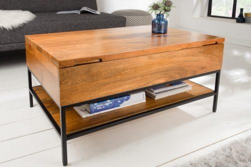 Industrialny stolik kawowy FACTORY LIFTUP 80cm z drewna mango z rozkładanym blatem