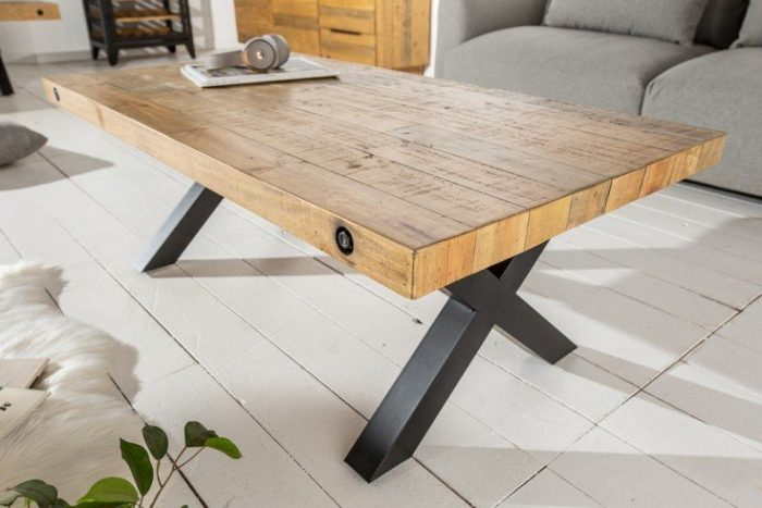 Stolik kawowy lity THOR 120cm z naturalnego drewna sosnowego