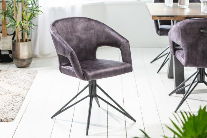 Krzesło retro ETERNITY z szarego aksamitu