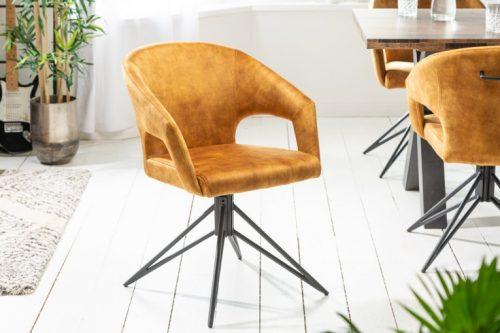 Krzesło obrotowe retro ETERNITY z musztardowego aksamitu