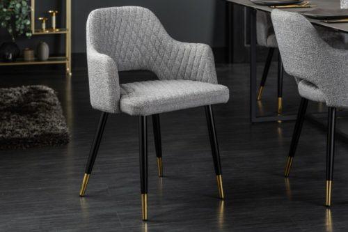 Eleganckie krzesło PARIS jasnoszare pikowane
