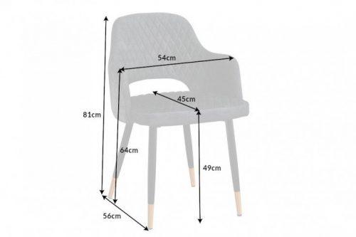 Eleganckie krzesło PARIS szare aksamitne ozdobne pikowanie