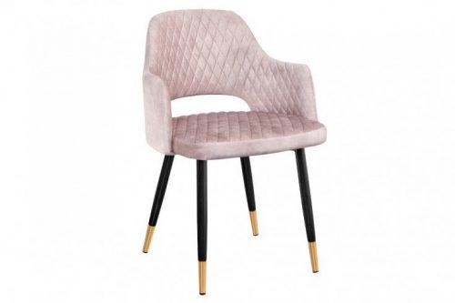 Eleganckie krzesło PARIS szaro-aksamitne ozdobne pikowanie