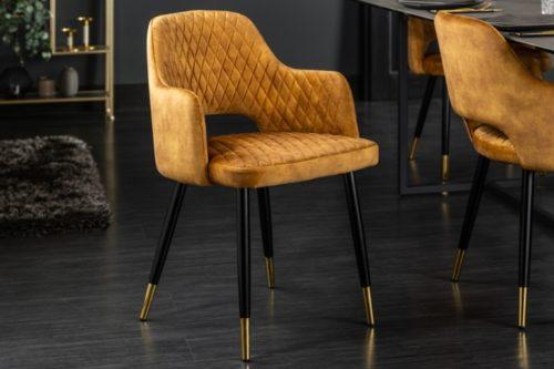 Eleganckie krzesło PARIS musztardowo-żółte aksamitne ozdobne pikowanie
