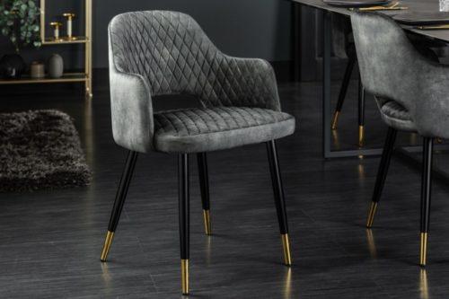 Eleganckie krzesło PARIS zielono aksamitne ozdobne pikowanie