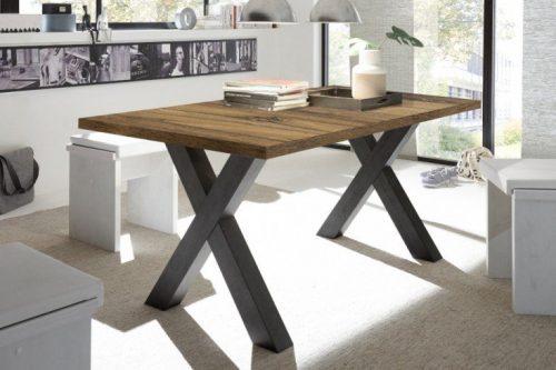 Industrialny stół do jadalni MONTREAL 160-210 cm dębowy rozkładany z nogami w kształcie litery X