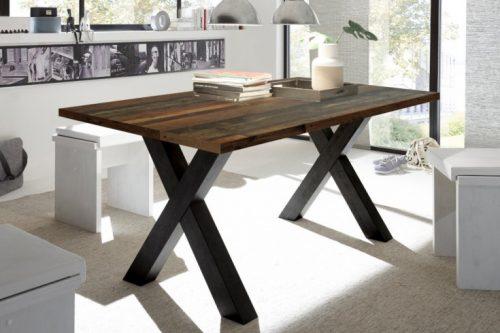 Industrialny stół do jadalni MONTREAL 180 cm imitacja ciemnego dębu z czarnymi nogami X