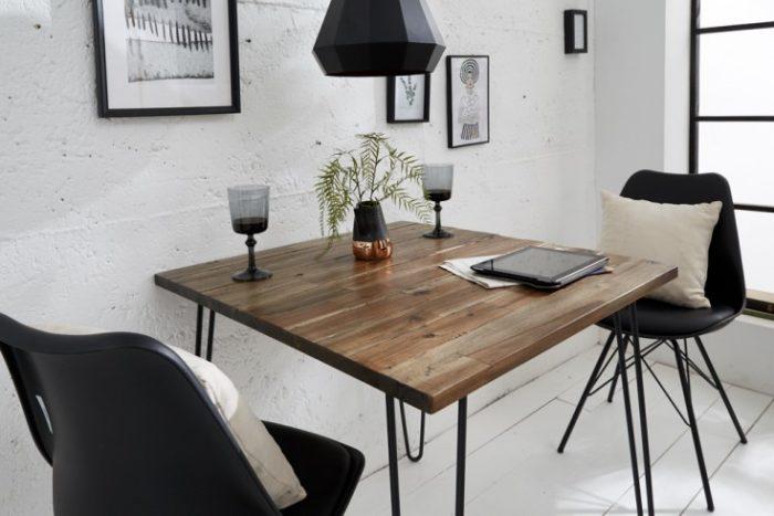 Stół w stylu retro SCORPION 80 cm akacja brązowa