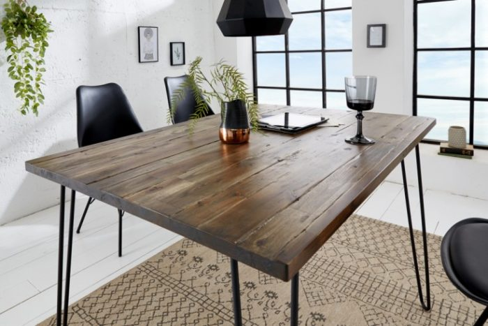 Stół do jadalni SCORPION w stylu retro 120 cm akacja brązowa