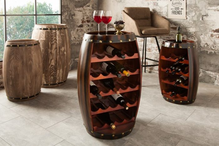 Naturalny stojak na wino BODEGA 80 cm styl Shabby brąz
