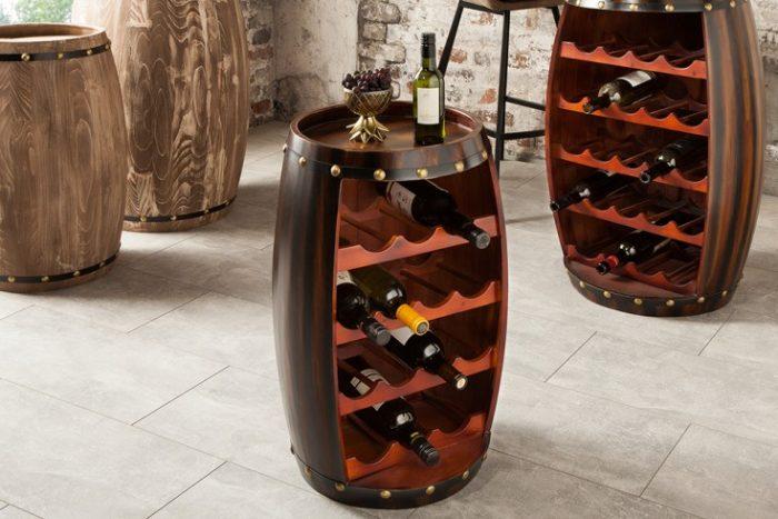 Naturalny stojak na wino BODEGA 60 cm styl Shabby
