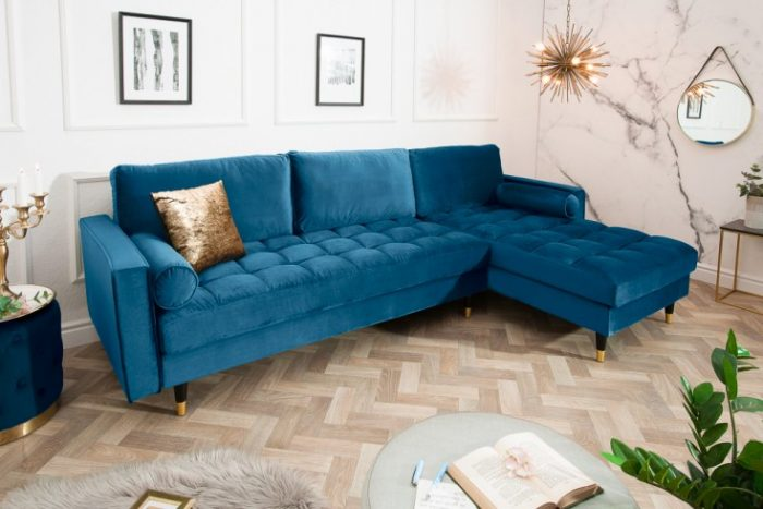 Sofa narożna VELVET 260 cm niebieska aksamitna