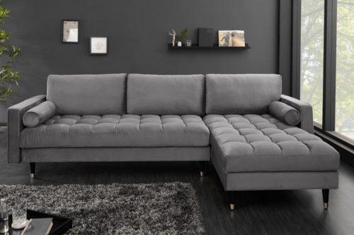 Sofa narożna VELVET 260 cm szara aksamitna