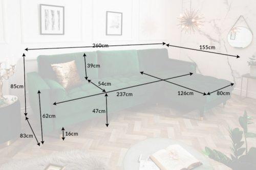 Sofa narożna VELVET 260 cm zielona aksamitna